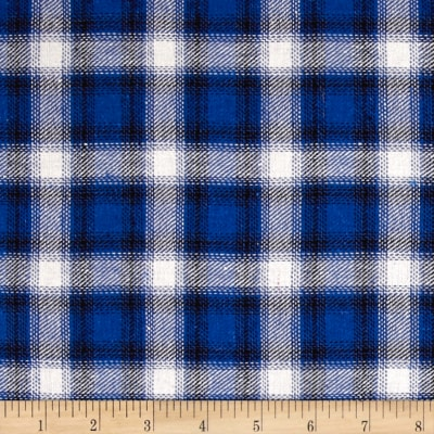 Yarn Dyed Flannel Plaid Royal Blue/Cream