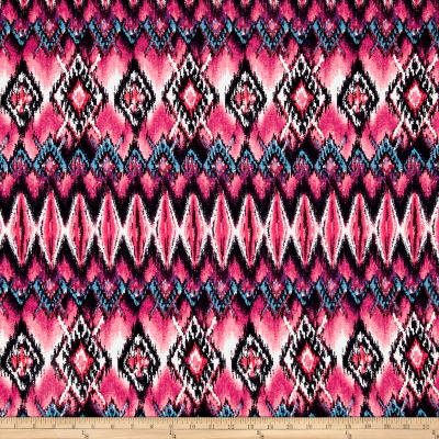 Rihan Jersey Knit Abstract Boho Pink Diamonds/Garnet/Blue