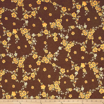 Rihan Jersey Knit Yellow Botanical on Brown
