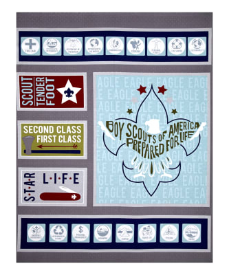 "Riley Blake Boy Scouts Of America Scout 36.5"" Panel Gray"