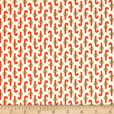 Moda Snowfall Prints Candy Cane Snow White