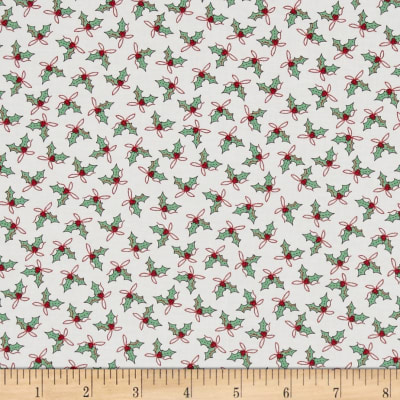Moda Sugar Plum Christmas Holly Trees Icicle White