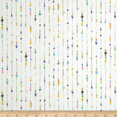 QT Fabrics Mariposa Jeweled Stripe Ecru