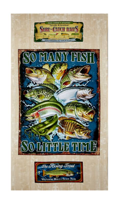 "QT Fabrics So Many Fish, So Little Time So Many Fish  23.5"" Panel Cream"