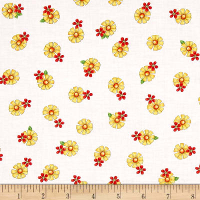 QT Fabrics Who Let The Hogs Out Tossed Flower White/Yellow