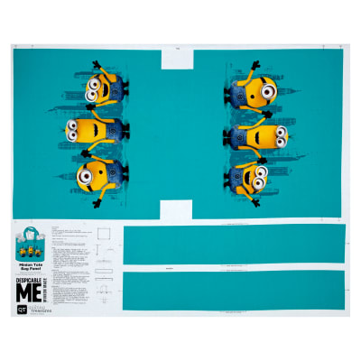 "QT Fabrics Millions Of Minions Minion Tote Bag 35.5"" Panel Aqua"
