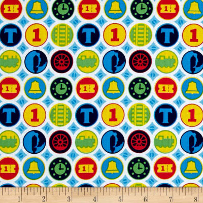 QT Fabrics Thomas the Train Steam Team Express Train Medallions White