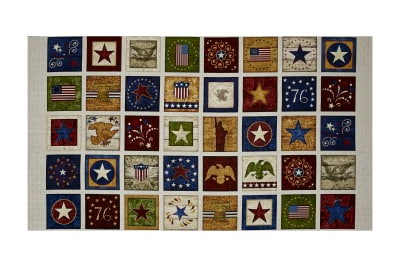 "Stars & Stripes Forever Patches 24"" Panel Ecru"