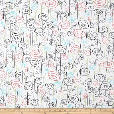 QT Fabrics Not Your Garden Variety Floral White