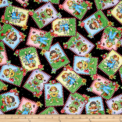 QT Fabrics Mary's Fairies Fairy Patch Toss Black