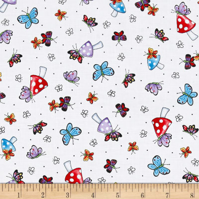 QT Fabrics Mary's Fairies Butterflies & Mushrooms White