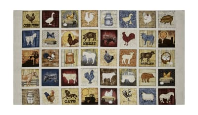 "QT Fabrics Bountiful Farm Animals Small Patch 23.5"" Panel Natural"