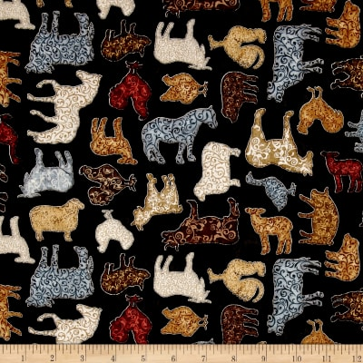 QT Fabrics Bountiful Scrolled Farm Animals Black