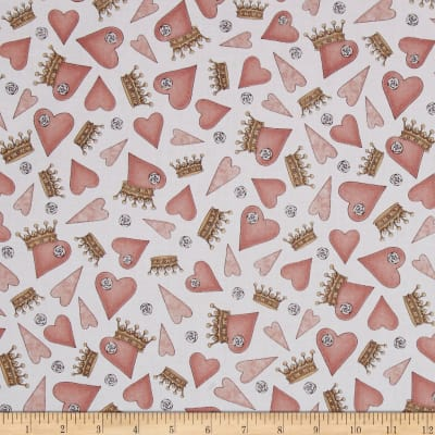QT Fabrics Santoro All For Love Hearts & Crowns White