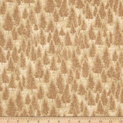 Mountain Elk Pine Trees Tan