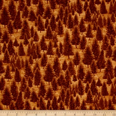 QT Fabrics Mountain Elk Pine Trees Nutmeg
