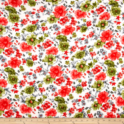Jersey Knit Coral/Olive Flowers on Ivory