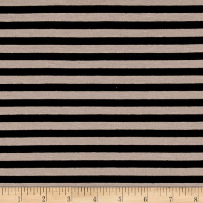 Yarn Dye Jersey Knit Stripe Black/Sandcastle