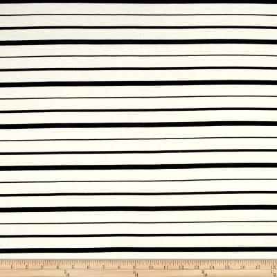 Yarn Dye Jersey Knit Mini Black Stripes on Ivory