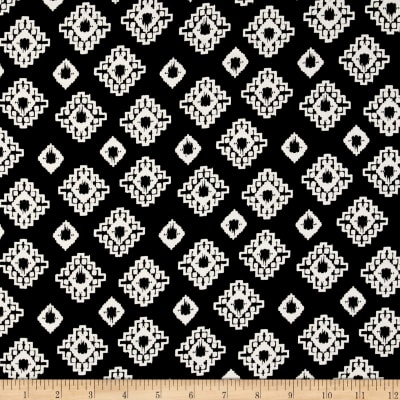 Rayon Challis White Deco Diamond Print on Black