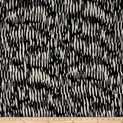 Poly Crepe Abstract Creme Stripes on Black