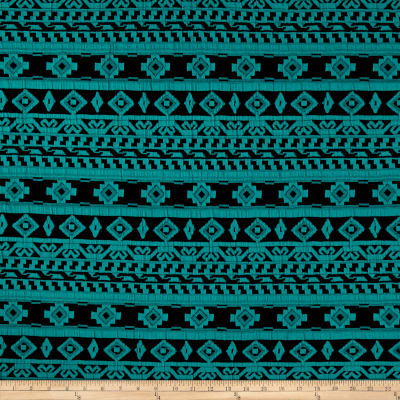 Double Knit Jacquard Ikats/Stripes Green on Navy
