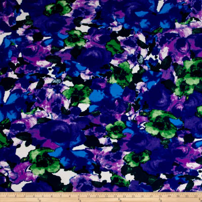 Telio Paola Pique Double Knit Green/Purple Abstract Rose