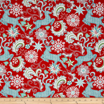 Contempo Nordic Holiday Nordic Reindeer Red