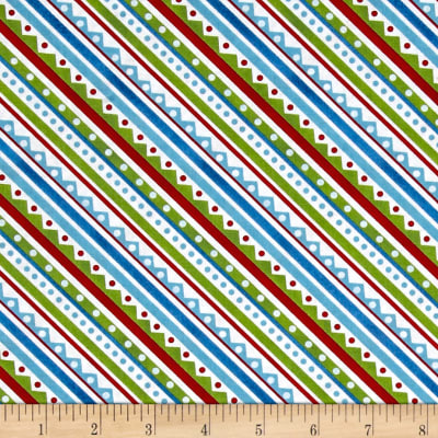 Snowy Friends Diagonal Stripe Multi