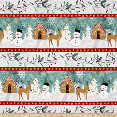 Wilmington Frosted Holiday Repeating Stripe Multi
