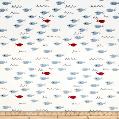 Michael Miller Minky Whales Fish Fiesta White
