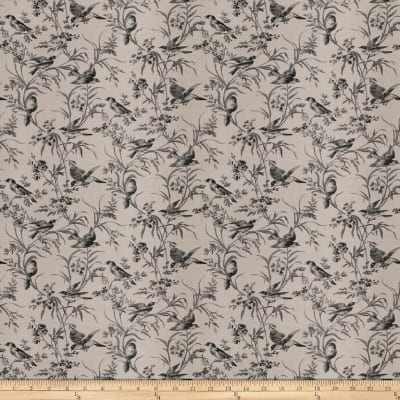French General Aviary Toile Linen Blend Coal
