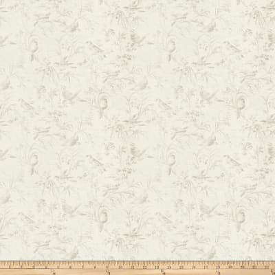 French General Aviary Toile Linen Blend Blanc