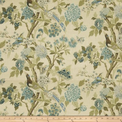 Fabricut Tree Hill Floral Linen Blend Blue Heaven