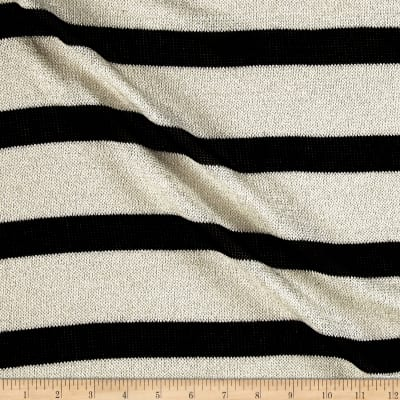 Sweater Knit Black/White Stripes/Silver Lurex