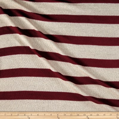 Sweater Knit Wine/Ivory Stripes Silver lurex