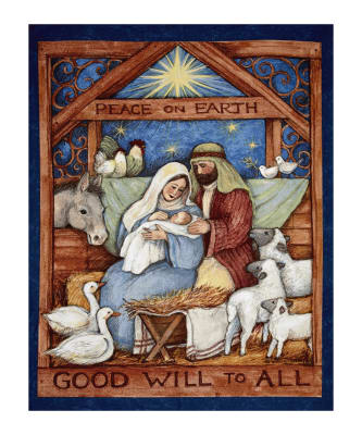 "Good Will To All Nativity 36"" Panel Multi"