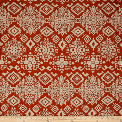 Rayon Challis Tribal Orange/Ivory
