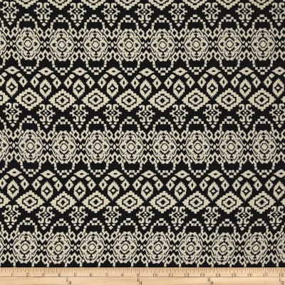 Rayon Challis Tribal Dark Navy/Cream