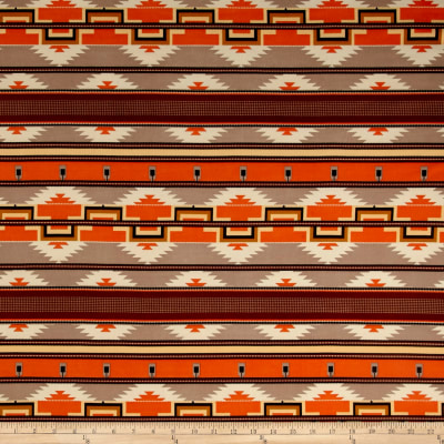 ITY Brushed Stretch Jersey Knit Aztec Orange/Taupe