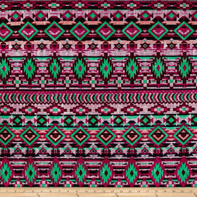 ITY Stretch Jersey Knit Aztec Fuchsia/Green