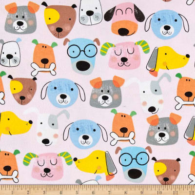 Comfy Flannel Dogs Pink