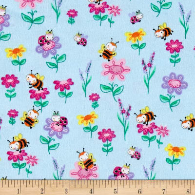Comfy Flannel Bee's & Flowers Blue