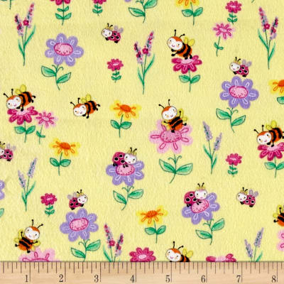 Comfy Flannel Bee's Flowers Yellow