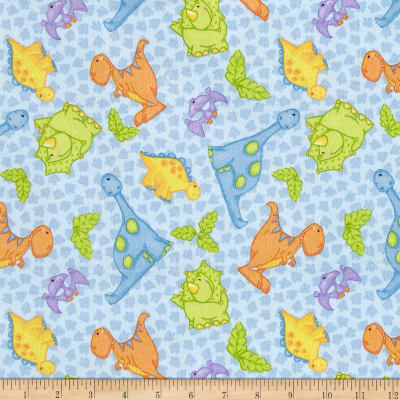 Comfy Flannel Dinosaurs Blue
