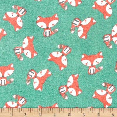 Comfy Flannel Foxes Turquoise
