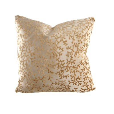 "18"" x 18"" Charleston Coral Throw Pillow Velvet Light Gold"