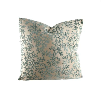 "18"" x 18"" Charleston Coral Throw Pillow Velvet Teal"