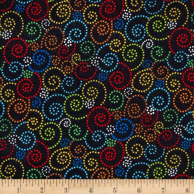 Timeless Treasures Flannel Bugtopia Dotted Swirls Black