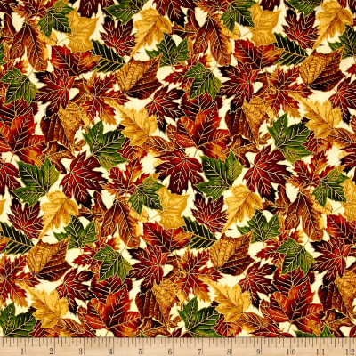 Falling For You Metallic Packed Leaves Cream/Gold
